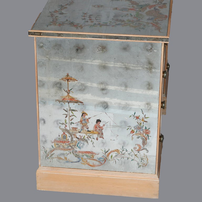 Venetian Style Mirrored Chinoiserie Decorated Ladies Desk, Signed, 20th Century For Sale 9