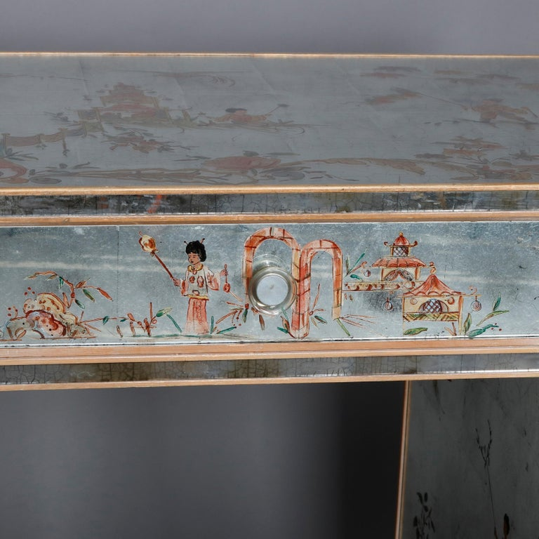 Venetian Style Mirrored Chinoiserie Decorated Ladies Desk, Signed, 20th Century For Sale 10