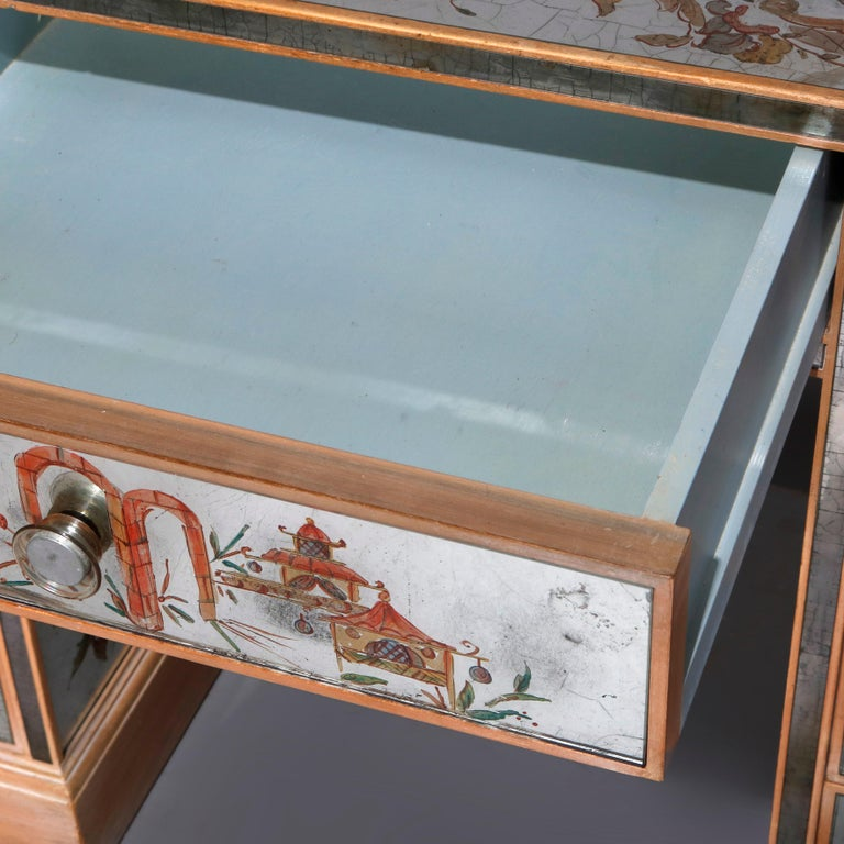 Venetian Style Mirrored Chinoiserie Decorated Ladies Desk, Signed, 20th Century For Sale 11