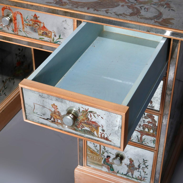 Venetian Style Mirrored Chinoiserie Decorated Ladies Desk, Signed, 20th Century For Sale 12