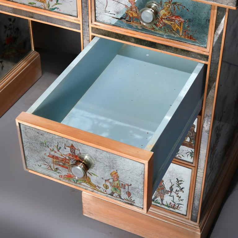 Venetian Style Mirrored Chinoiserie Decorated Ladies Desk, Signed, 20th Century For Sale 13