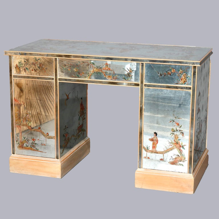 A vintage Venetian style ladies desk offers mirrored wood construction with hand painted chinoiserie decoration depicting Asian landscape and genre scenes with scroll and foliate elements, signature stamp appears to be