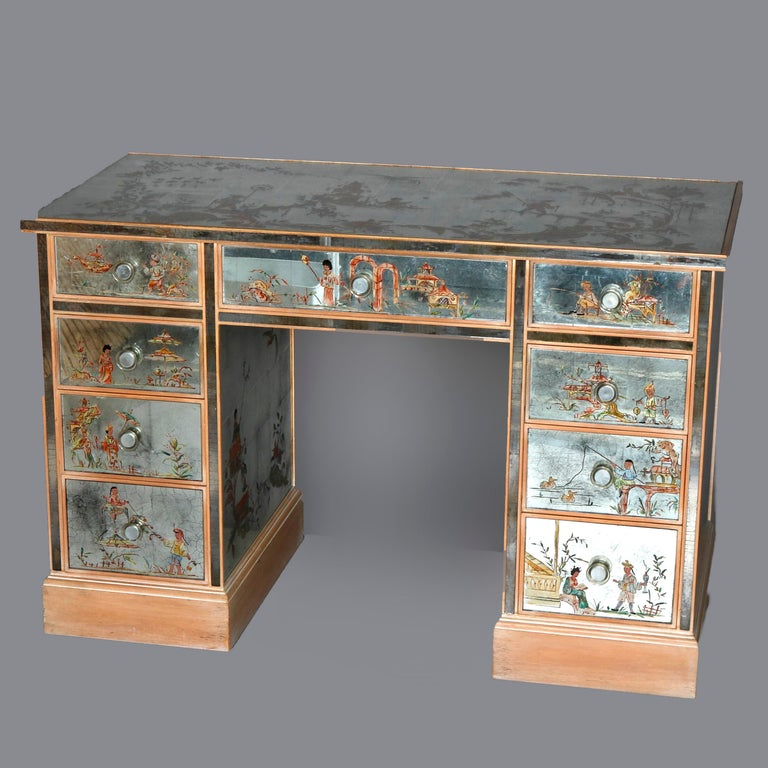 Venetian Style Mirrored Chinoiserie Decorated Ladies Desk, Signed, 20th Century For Sale 15