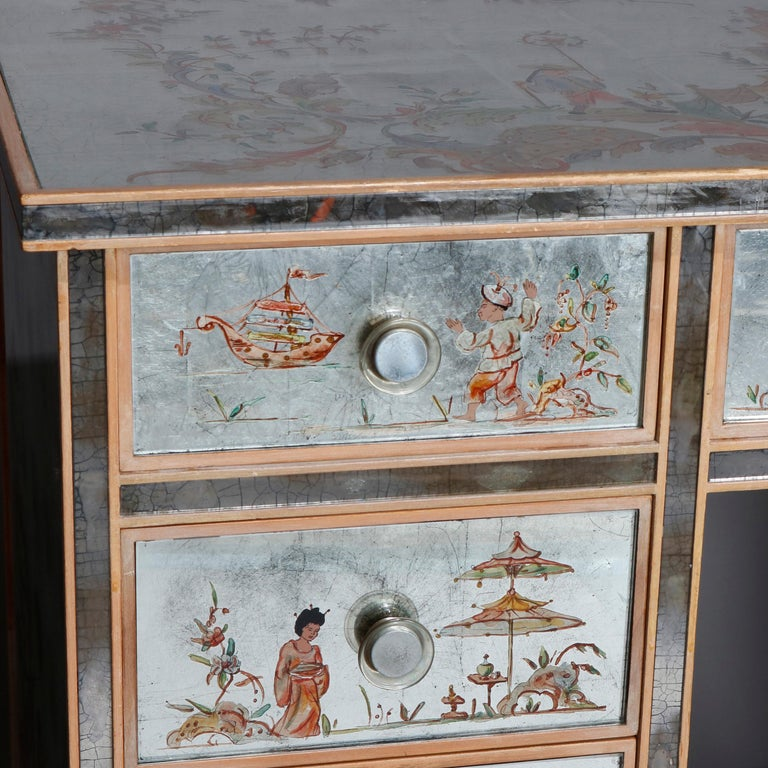 European Venetian Style Mirrored Chinoiserie Decorated Ladies Desk, Signed, 20th Century For Sale