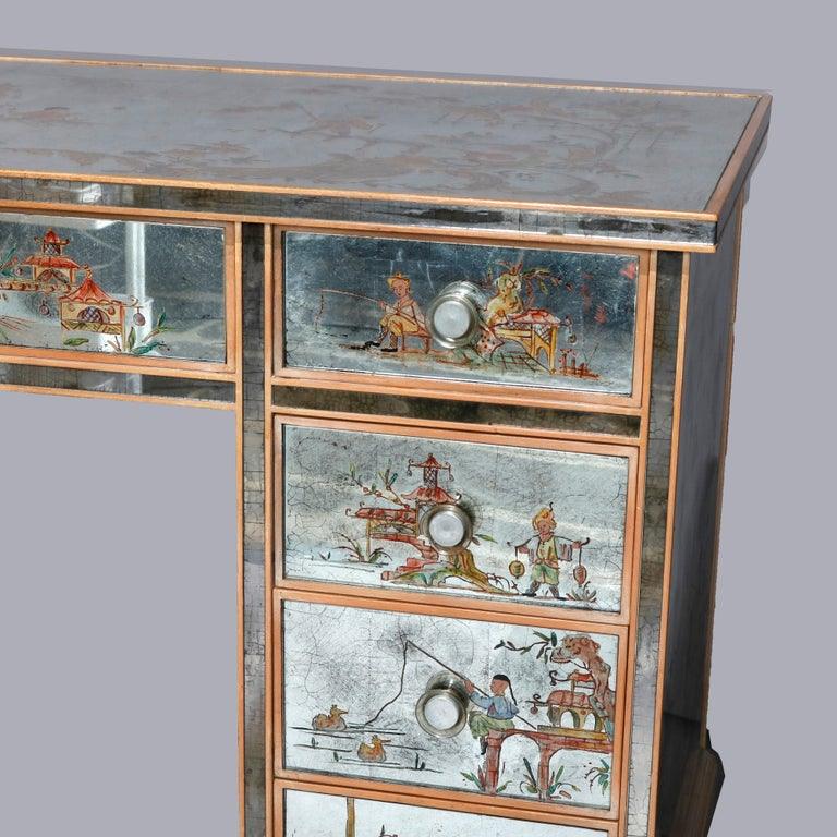 Hand-Painted Venetian Style Mirrored Chinoiserie Decorated Ladies Desk, Signed, 20th Century For Sale