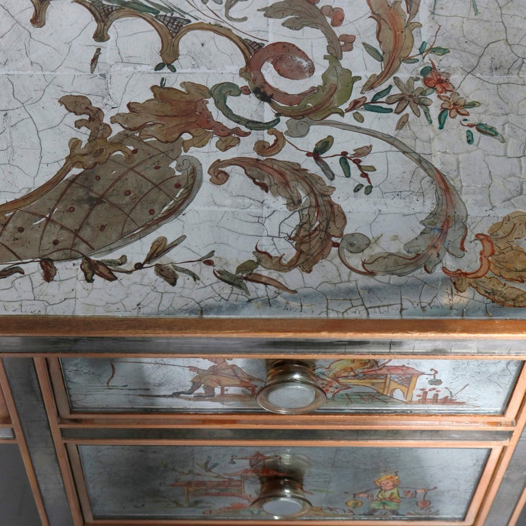 Venetian Style Mirrored Chinoiserie Decorated Ladies Desk, Signed, 20th Century For Sale 4
