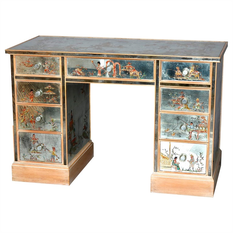 Venetian Style Mirrored Chinoiserie Decorated Ladies Desk, Signed, 20th Century For Sale
