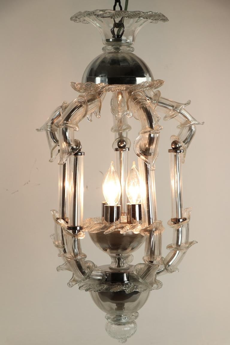 Venetian Style Murano Glass Pendant Chandelier For Sale 11