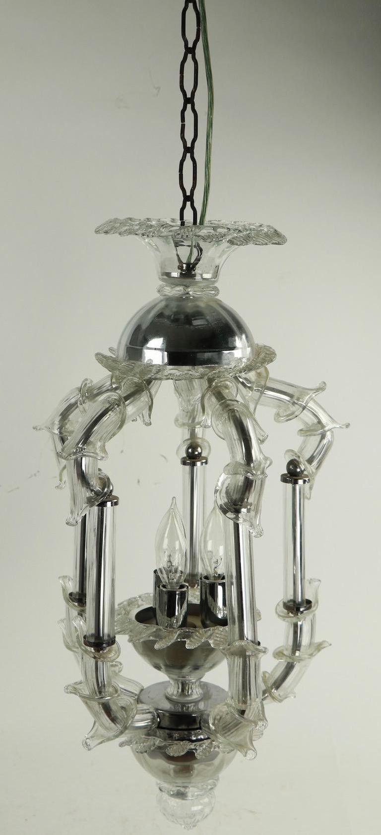 Italian Venetian Style Murano Glass Pendant Chandelier For Sale