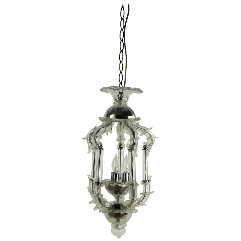 Venetian Style Murano Glass Pendant Chandelier For Sale