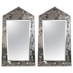 Venetian Style Pair Rare Pyramid Design Beveled Mirrors
