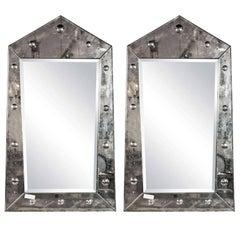Venetian Style Pair Rare Pyramid Design Beveled Mirrors