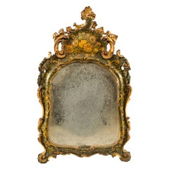 Venetian Table Mirror in Carved Lacquered Wood, Venice 18th Century Floral Italy