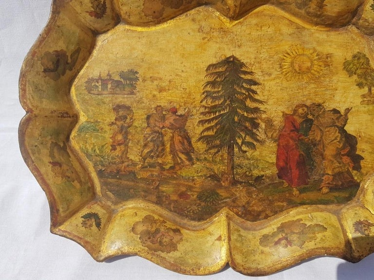 Italian Venetian Tray in Lacquered and Painted Wood, Venice 18th Century, Italy Louis XV For Sale