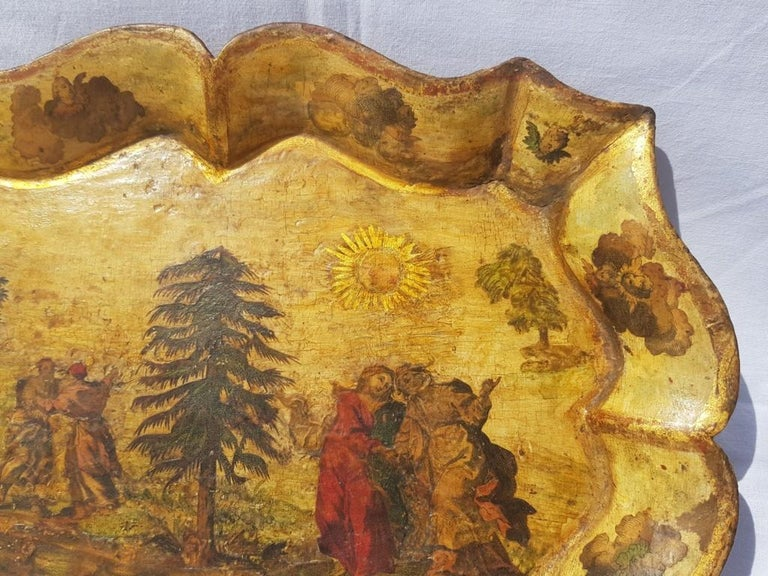 Venetian Tray in Lacquered and Painted Wood, Venice 18th Century, Italy Louis XV In Good Condition For Sale In Varmo, IT