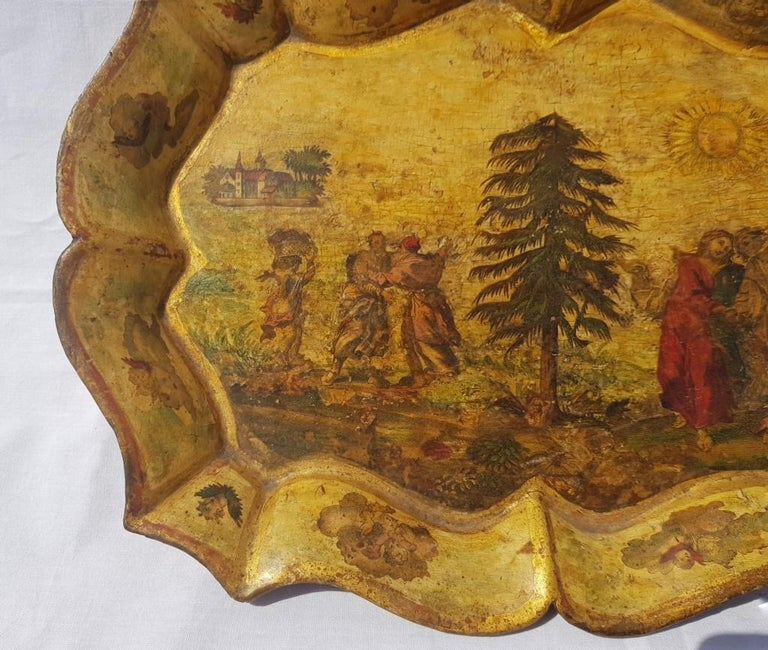 Venetian Tray in Lacquered and Painted Wood, Venice 18th Century, Italy Louis XV For Sale 1
