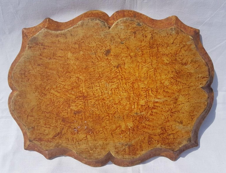 Venetian Tray in Lacquered and Painted Wood, Venice 18th Century, Italy Louis XV For Sale 5