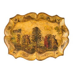 Venetian Tray in Lacquered and Painted Wood, Venice 18th Century, Italy Louis XV