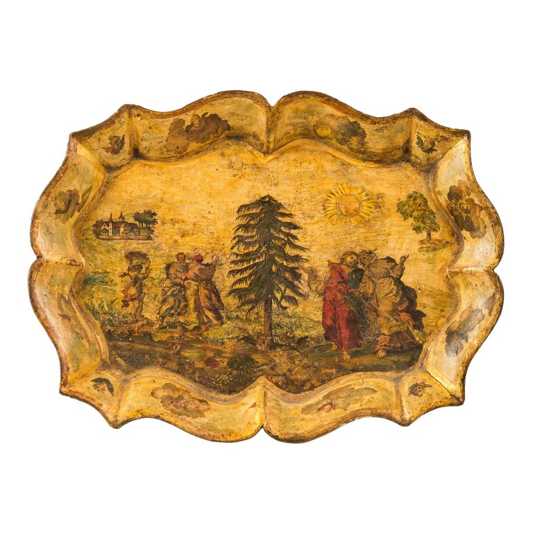 Venetian Tray in Lacquered and Painted Wood, Venice 18th Century, Italy Louis XV For Sale