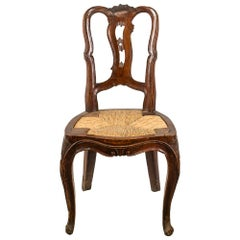 Venetian Walnut Carved Armchair, Venice 18th Century Wood Seated