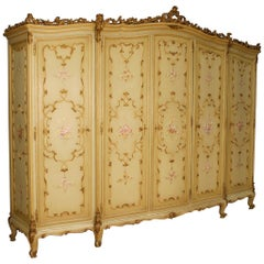 Venetian Wardrobe in Lacquered, Gilt, Painted Wood from 20th Century