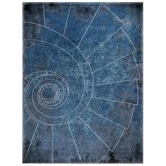 Venezia Celeste - Blue Geometric Hand Knotted Wool Silk Rug