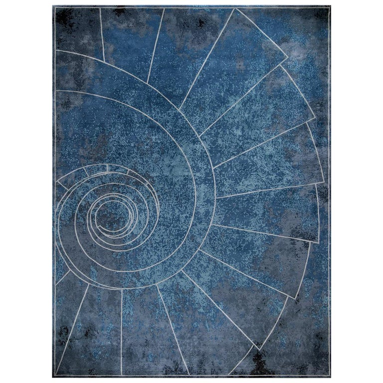 Venezia Celeste Contemporary Art Graphic Wool and Silk 9x12 Rug by Mike Shilov For Sale