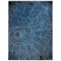 Venezia Celeste Contemporary Art Graphic Wool and Silk Large Rug by Mike Shilov