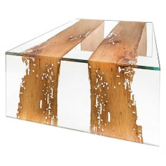 Venezia Glass and Wood Rectangular Coffee Table