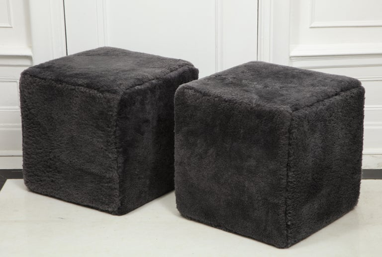 Modern Venfield Custom Pair of Shearling Cube Foot Stools/Ottoman For Sale