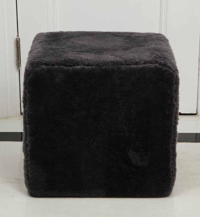 American Venfield Custom Pair of Shearling Cube Foot Stools/Ottoman For Sale