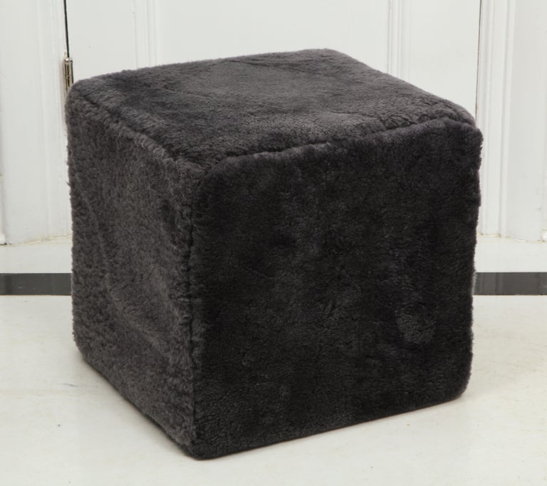 Venfield Custom Pair of Shearling Cube Foot Stools/Ottoman In New Condition For Sale In New York, NY