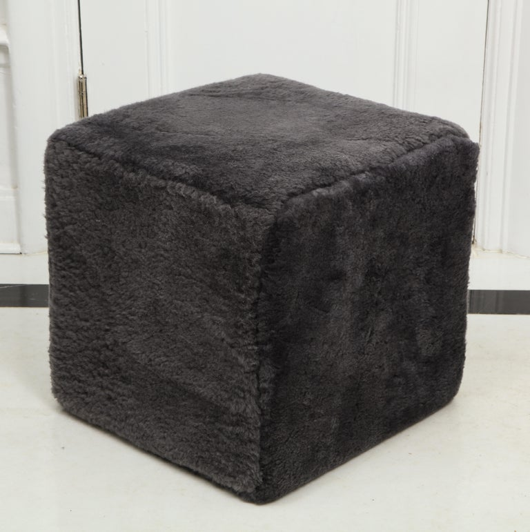Contemporary Venfield Custom Pair of Shearling Cube Foot Stools/Ottoman For Sale