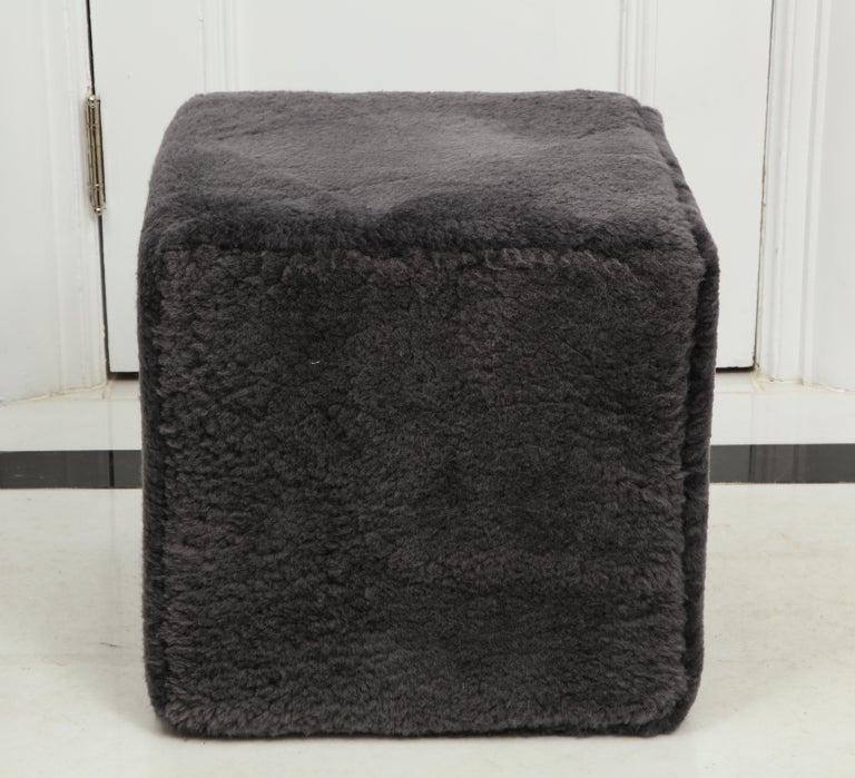 Fur Venfield Custom Pair of Shearling Cube Foot Stools/Ottoman For Sale