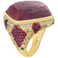 Venice 18 Karat Yellow Gold Pink Sapphire Cocktail Ring with Diamond and Ruby