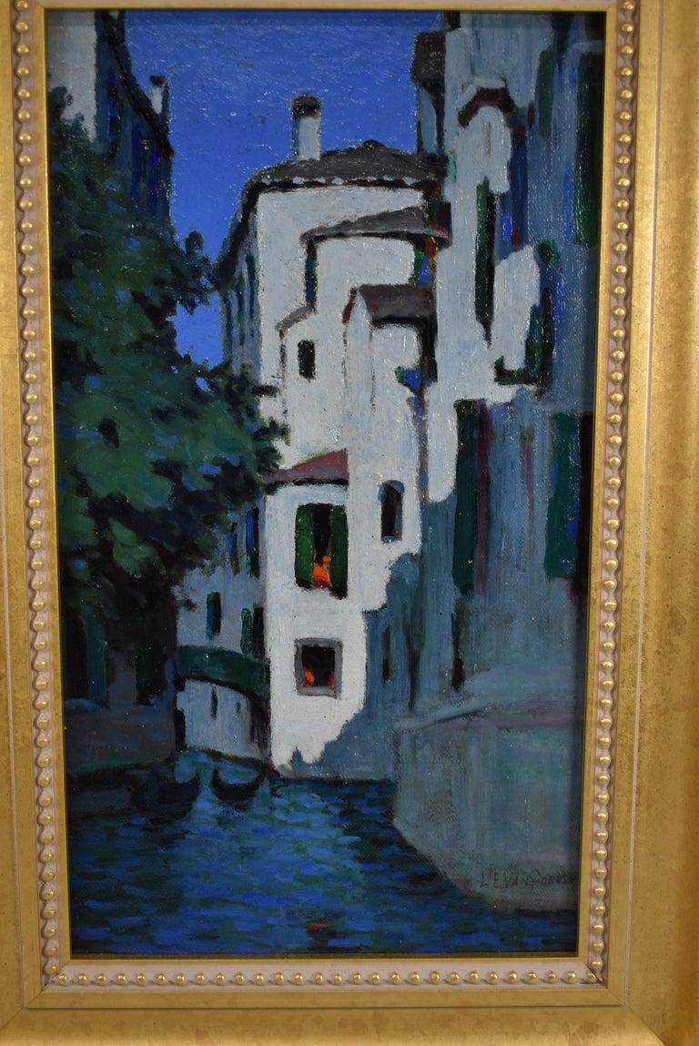 Venice canal scene at dusk oil painting on artist board by Luther Van Gorder. Signed lower right L E Van Gorder.