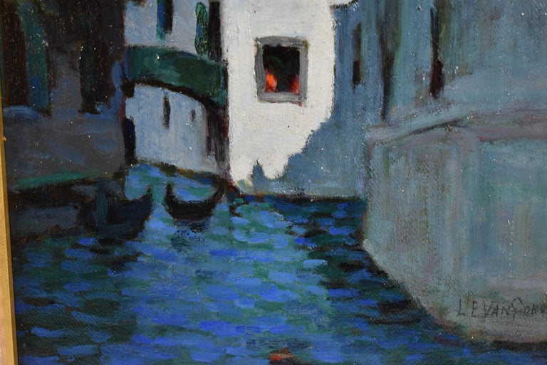 Modern Venice Canal Scene Oil Painting by Artist Luther Van Gorder For Sale
