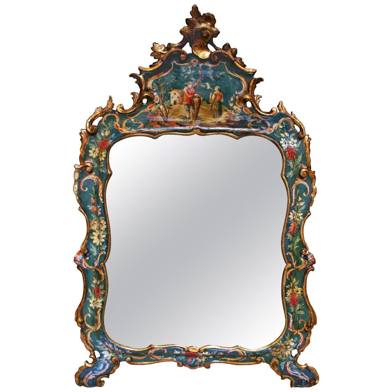 Venice Italy Mid-18th Century Green Lacquered Mirror Golden Edge Mercury Mirror