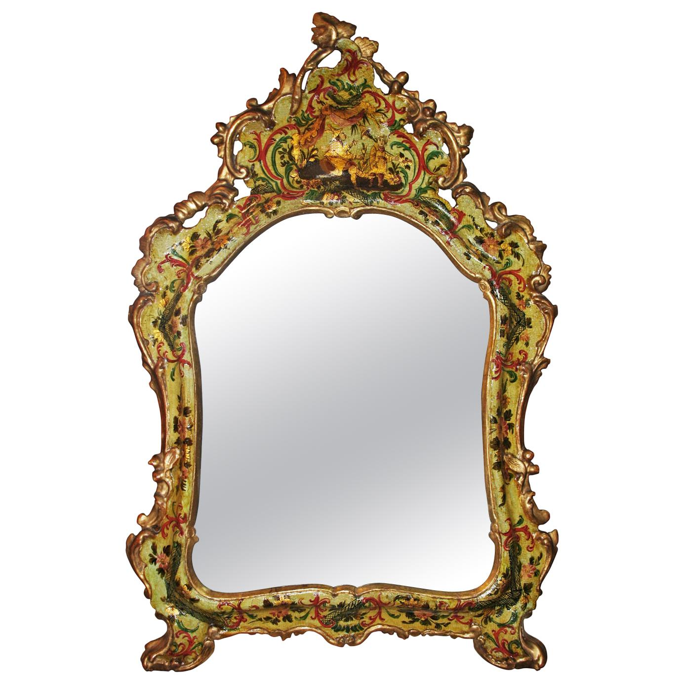 Venice Italy Mid-18th Century Light Green Lacquered Mirror with Mercury Glass