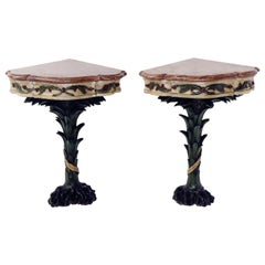 Venice Italy Mid-18th Century Pair of Corner Console Lacquered Wood Red Marble