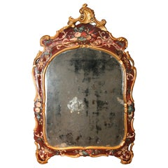 Venice Italy Mid-18th Century Red Lacquered Mirror Mercury Glass Golden Border
