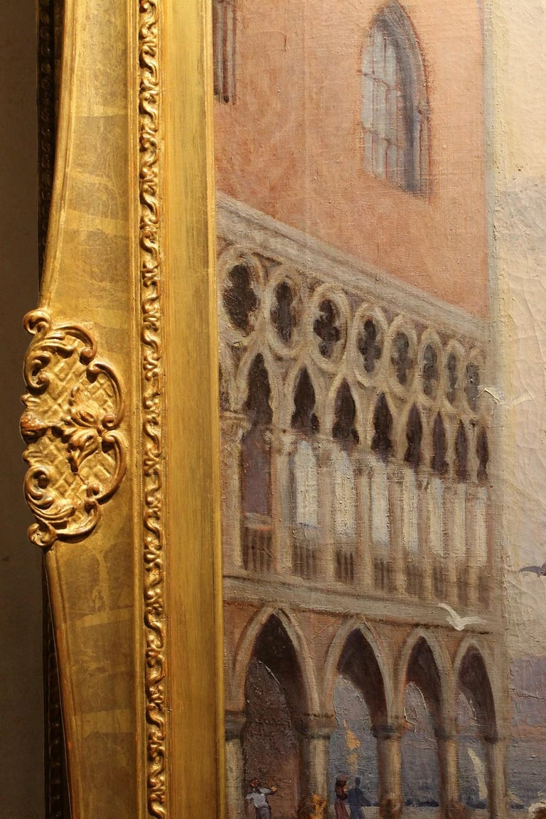 Hand-Painted Venice Landscape Oil on Canvas Painting in Giltwood Frame, Italy, Belle Époque For Sale
