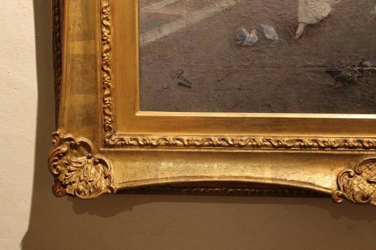 Venice Landscape Oil on Canvas Painting in Giltwood Frame, Italy, Belle Époque For Sale 1