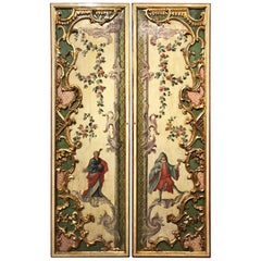 Venice Late 18th Century Pair of Lacquered Wooden Door Panels in Baroque Style