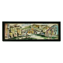 Venice Rialto Bridge Hand Painted Tiles Folk Art Plaque