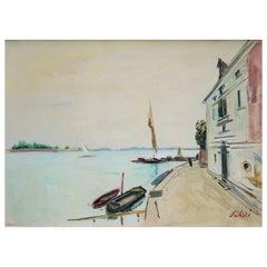 Venice, Seibezzi Fioravante Oil on Canvas Painting, 1950