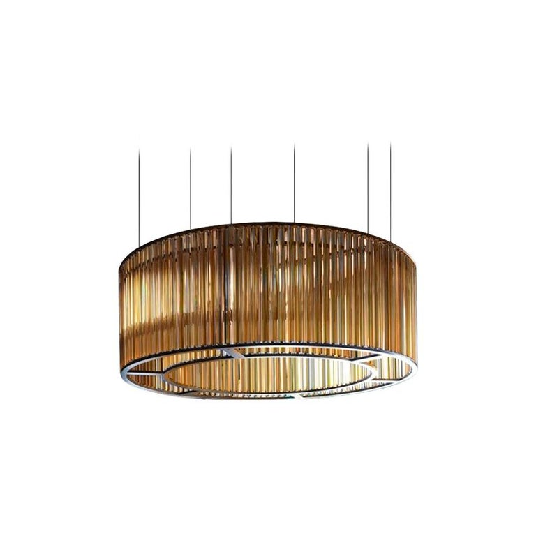 For Sale: Orange (Amber) VeniceM Crown Circular Suspension Lamp by Massimo Tonetto