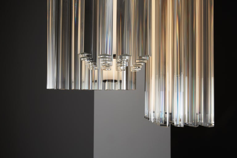 Modern VeniceM Grace Composition Suspension Light in Metal & Crystal by Massimo Tonetto For Sale