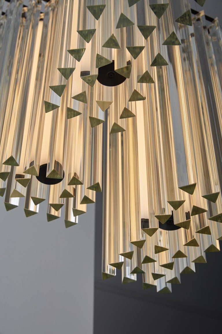 Italian VeniceM Grace Composition Suspension Light in Metal & Crystal by Massimo Tonetto For Sale