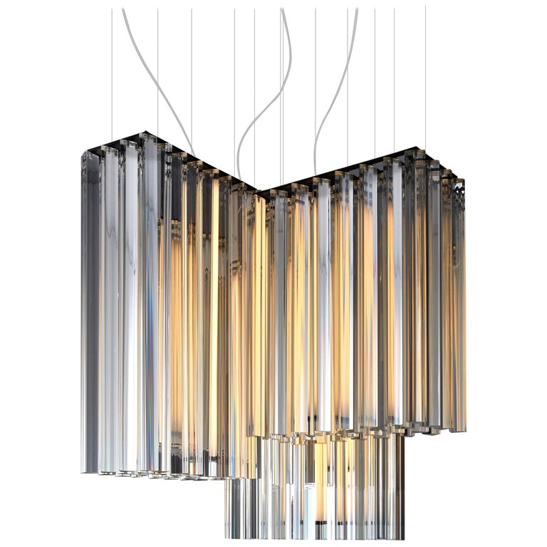 VeniceM Grace Composition Suspension Light in Metal & Crystal by Massimo Tonetto For Sale